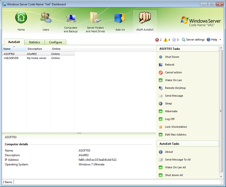 AutoExit For Windows Home Server/SBSe 2011